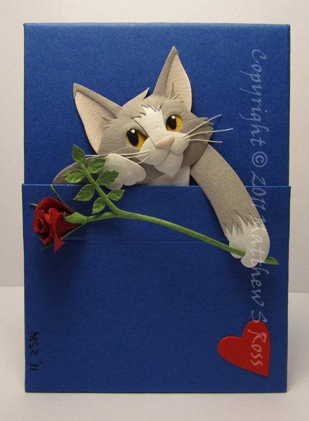 Как сделать открытку котенок, открытки днем