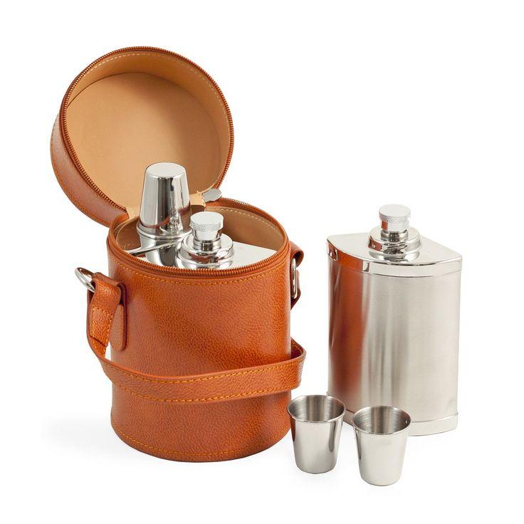 Bey-Berk Six Piece Stainless Steel Travel Flask Set