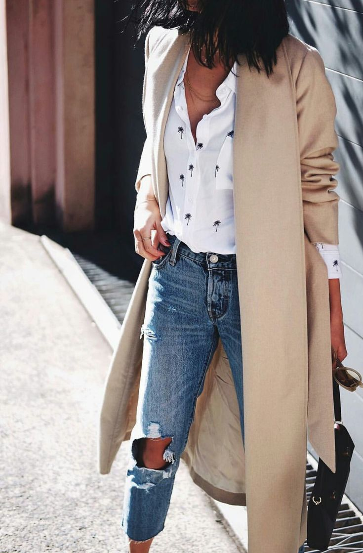 long satin camel trench coat + white palm tree printed shirt + cropped raw hem ripped boyfriend jeans + bag
