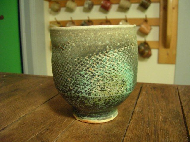 Michael Simon green paddled teabowl