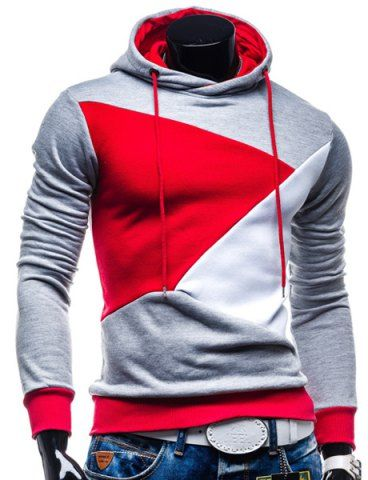 Irregular Color Lump Spliced Rib Hem Slimming Hooded Long Sleeves Men's Casual Hoodie #red #gray