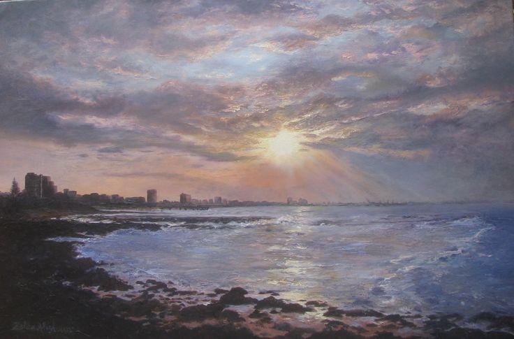 Good night, sleep tight Port Elizabeth 1 Oil painting 91 x 61cm by Zelda Alistoun paintings (water, sunset, cityscape, beach)