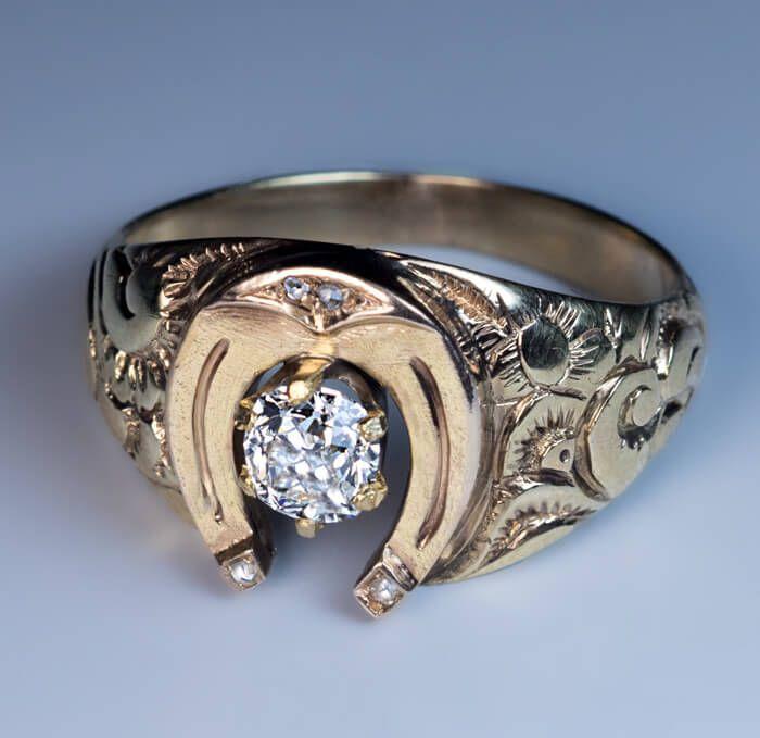 Antique Mid 1800s Horseshoe Diamond Gold Men's Ring - Antique Jewelry | Vintage Rings | Faberge Eggs