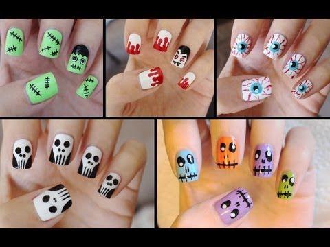 Five Adorable & Quick Halloween Nail Tutorials! - http://rainbowloomsale.com/five-adorable-quick-halloween-nail-tutorials/