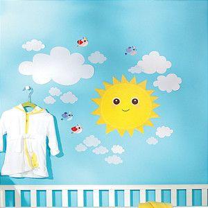 Wallies Baby Sunshine Wall Stickers 21 Decals Nursery Decor Sun Clouds Birds | eBay