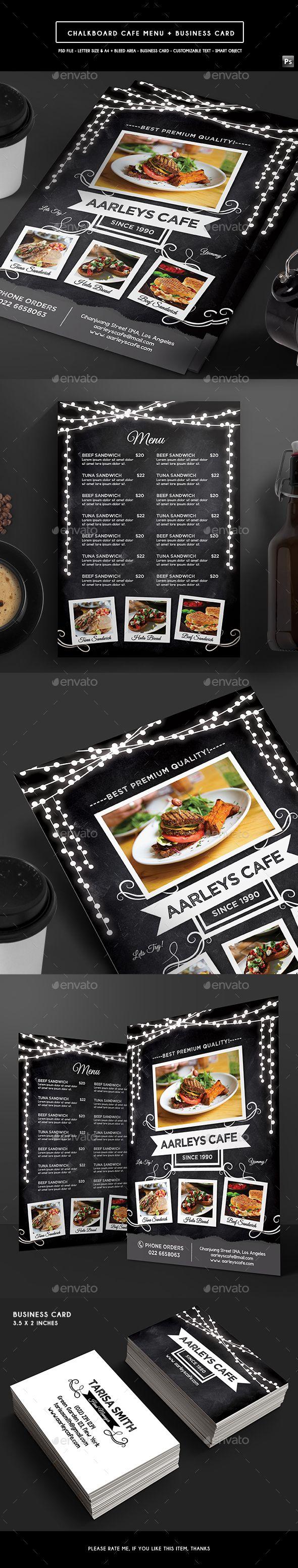 Blackboard Cafe Menu Flyer Design Template - Food Menus Print Template PSD. Download here: https://graphicriver.net/item/blackboard-cafe-menu-flyer/17404876?ref=yinkira