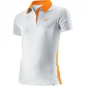 Nike Girls Border Polo (White/Orange)