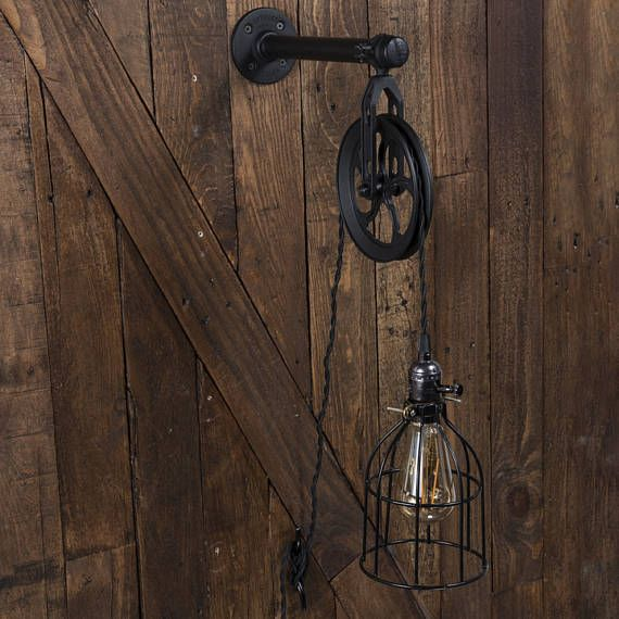 Industrial Pulley Plug In Wall Sconce - Color Cord Company ...