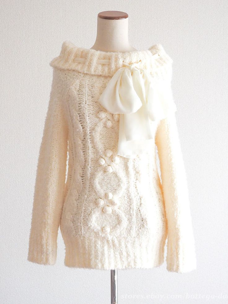 LIZ LISA Heavy Cowl Ribbon Off-shoulder Sweater OP Dress Hime gyaru Lolita Japan #LIZLISA #CowlNeck