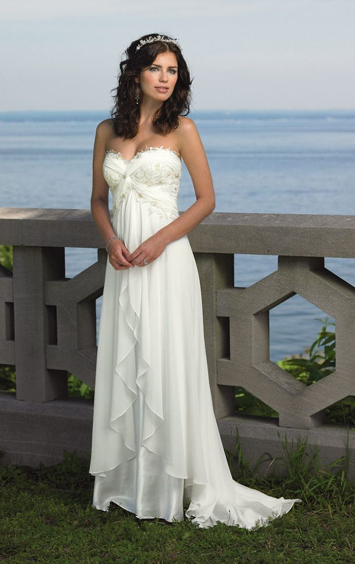 Романтический пляж свадебное платье милая линии рукавов шифон аппликации халат де Mariage Vestido Novia свадебное платье дешевые