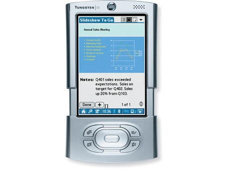 Palm Tungsten T3    Manufacturer - Palm  Series - Tungsten  Years of production - 2003  CPU - Intel PXA255400 MHz  Rom - 12 Mb  Ram - 64 Mb  Screen - 320x480| 65K colors  Weighs -5.5 oz.  Operating System -Palm OS v5.2.1