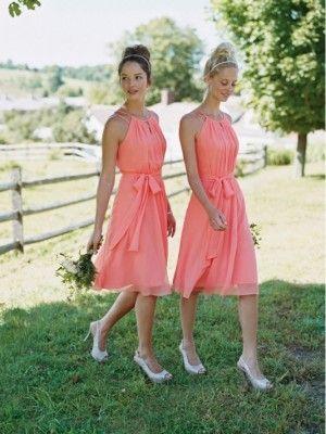 Wassermelone A-Linie / Prinzessin scoop ärmel bowknot knielangen Chiffon Brautjungfernkleider für 515,50€