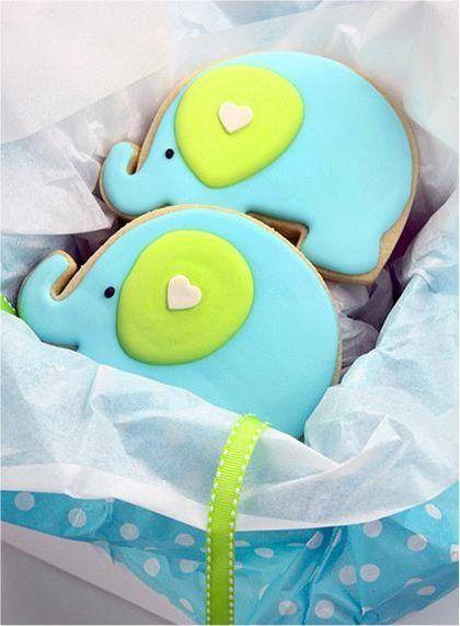 elephant cookies decorated