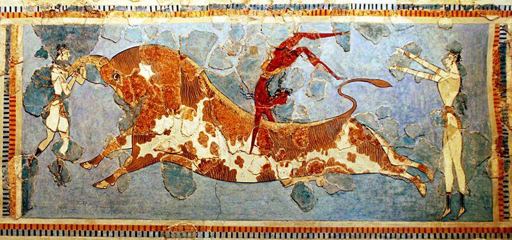 Pourquoi les minoens ont ils quitté les premiers palais pour les plaines ? Fresque-minoenne-−-Musée-archéologique-d-Héraklion-−-George-M.-Groutas-CC-BY-2.0-crop