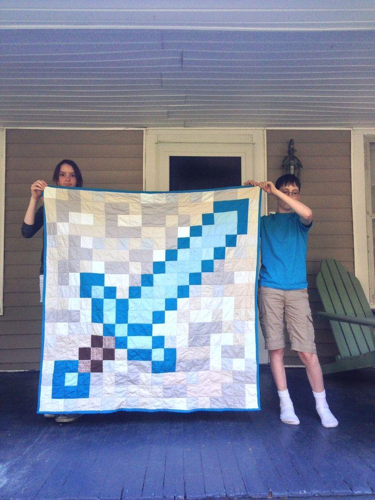 Minecraft Diamond Sword Quilt | Weeknight Quilting