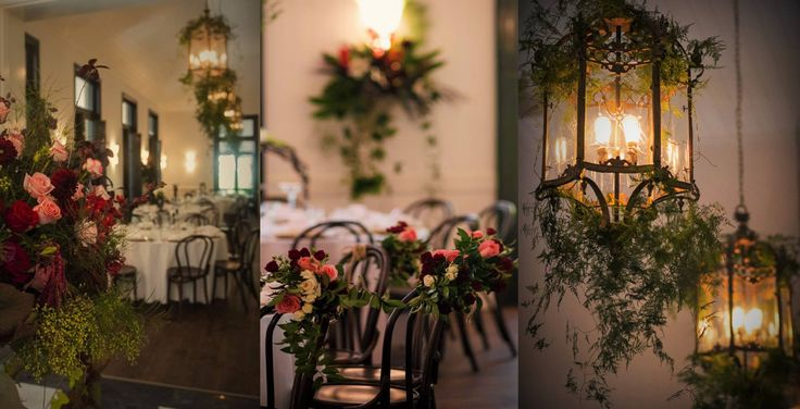 Beautiful floral details from the Orangery...delicate asparagus ferns dripping from our lanterns, pink, garnet and cream roses feature in chair back posies...