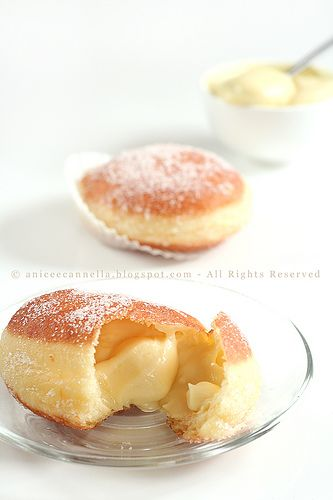 Homemade warm donuts filled with apricots AND custard - word! This is an Italian food blog and may not translate as well as you would like, but give it a look-see! (And wipe the drool before it hits your keyboard.)