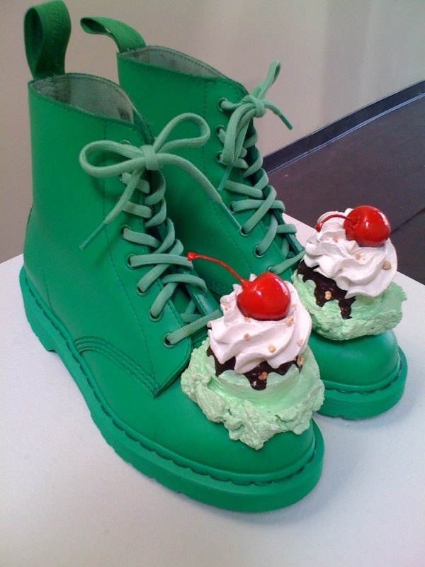 Rhonda Voos green pistachio ice cream shoes by icecreamshoes, $350.00