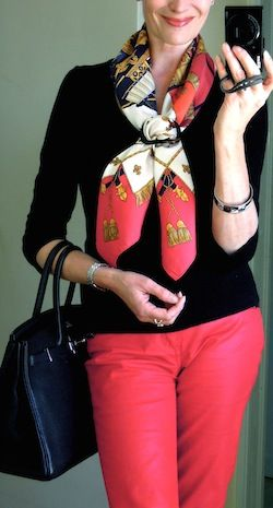 Hermès 'La Réale' scarf with red jeans