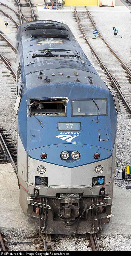 Damaged P42 at Amtrak shops Chicago
