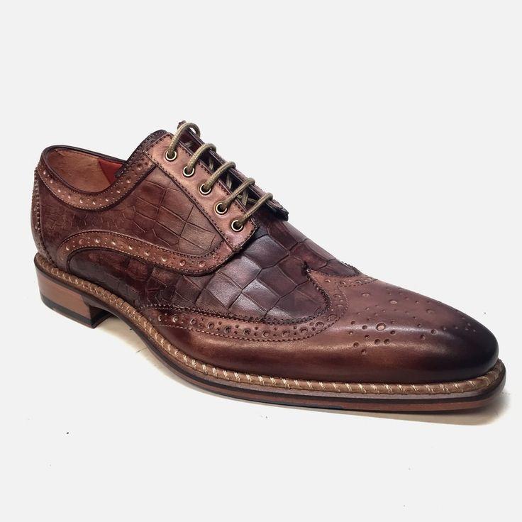 Jose Real Crust Brown Alligator Wingtip Dress Shoes