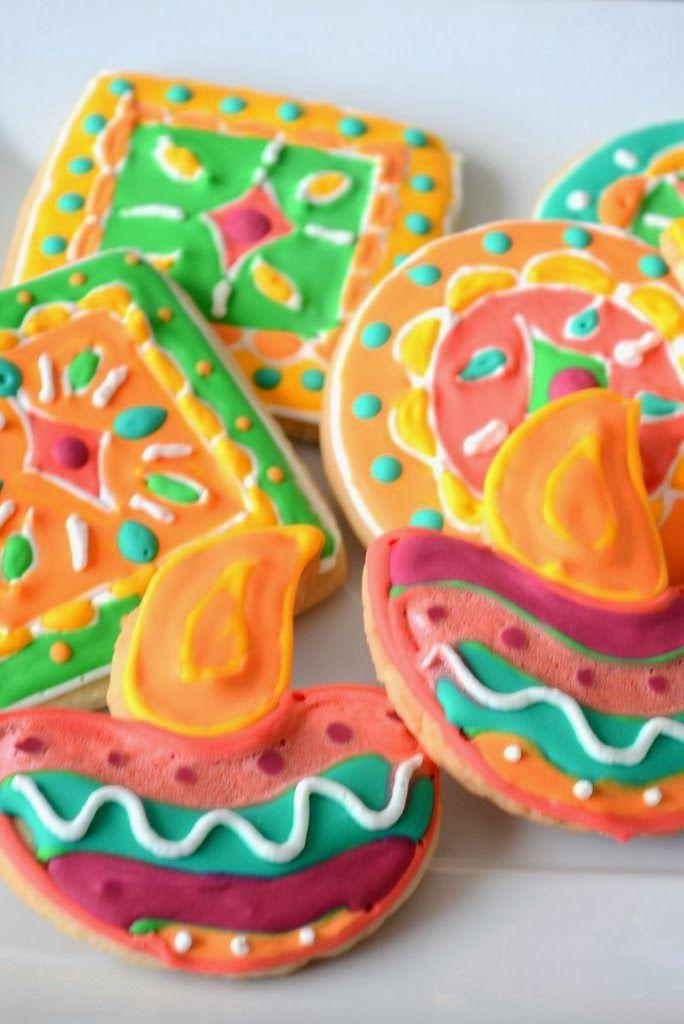 Diwali Diya and rangoli Cookies. Perfect treat this Diwali.