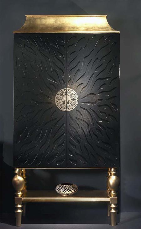 Black & Gold Leaf Cocktail Cabinet.  For glamour in the home. …