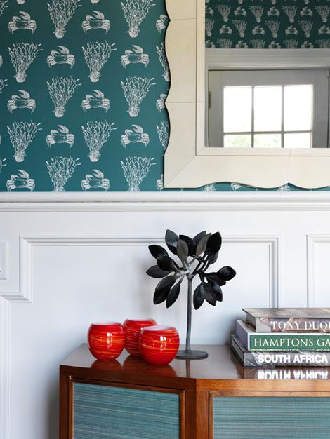 2011 Hampton Designer Showhouse: Katie Ridder, rear hall. Check out the funky beachy wallpaper.