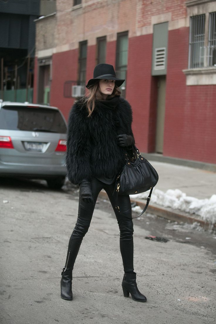 She took a page right out of Kate Moss's book. Street Style at New York Fashion Week #NYFW