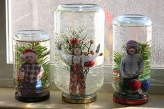 Kids in snow globes on window..so cute.  If you can't do it for a class, you can do it with your family.