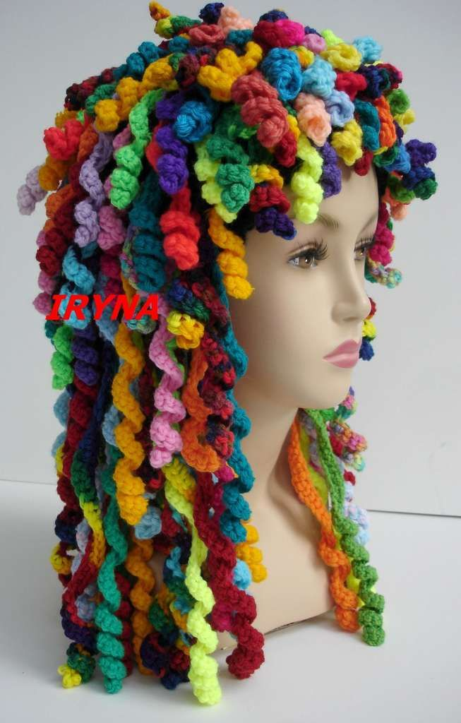 """Rag Doll Bonnet - not sure if this is crochet or knit, but I think it would be a cool project for """"crazy hat day"""" at school."""