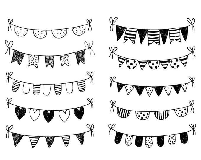 Hand Drawn Bunting Clipart Doodle Bunting Scrapbooking Commercial