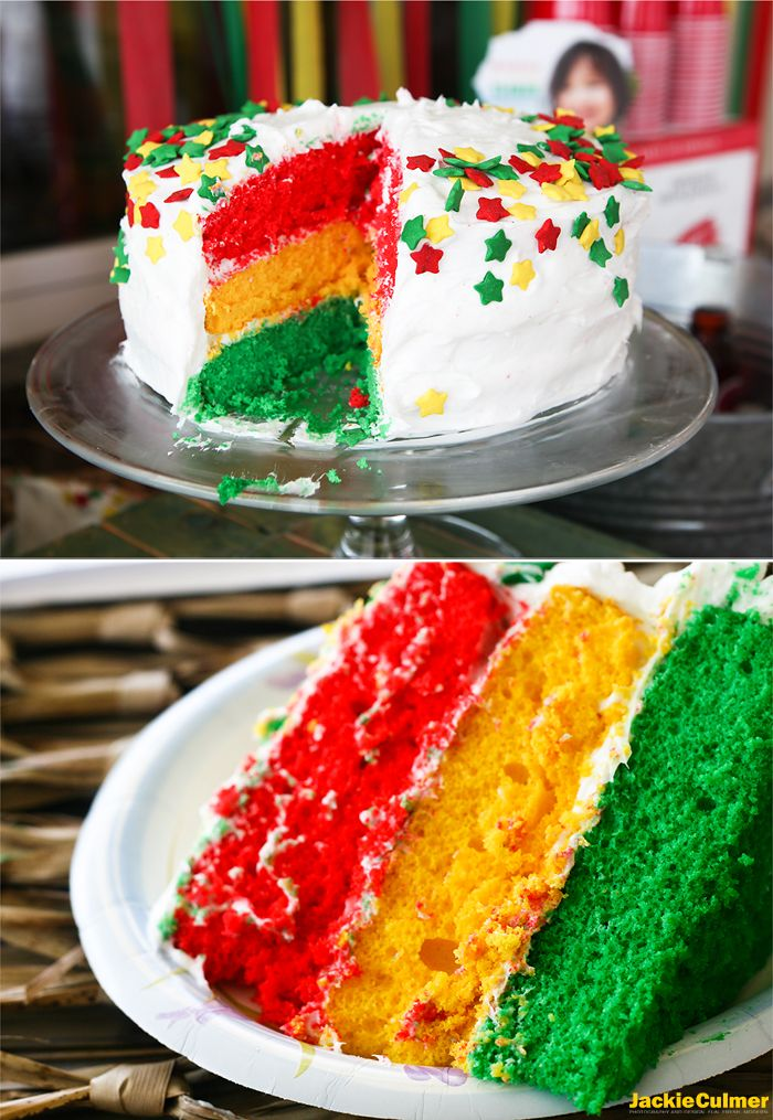 Reggae Cake, rainbow cake, turning three, 3rd birthday party, reggae, three birds bob marley theme. Event styling, invitations, and photography by Jackie Culmer Photography. www.jackieculmer.com, © Jackie Culmer PhotographySilver Spoon and Paper Plate Blog