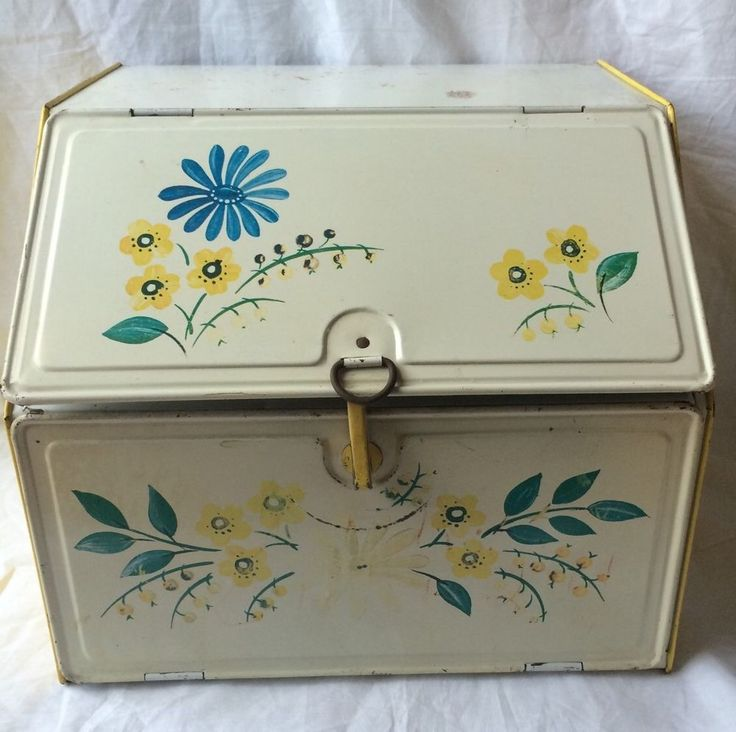 Vintage Country Kitchen Metal White and Yellow Bread Box 2 Shelf with Flowers