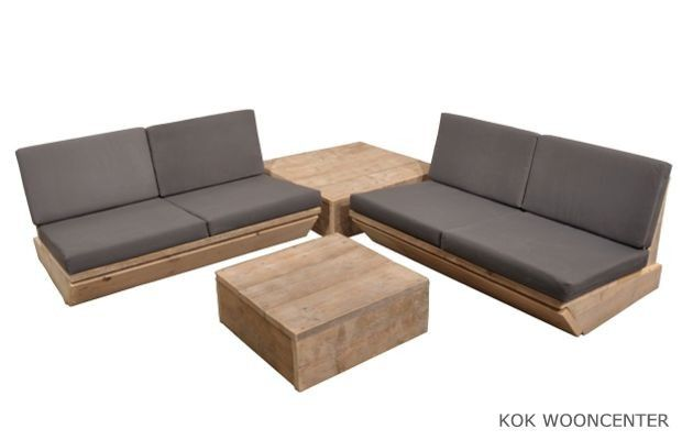Steigerhouten lounge bank Grand Canyon - Kok Wooncenter