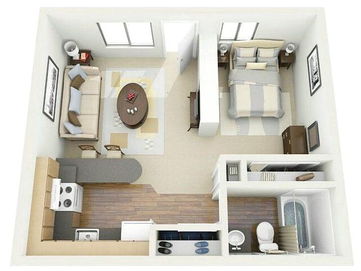 contoh sketsa denah rumah minimalis 1 kamar tidur 3d