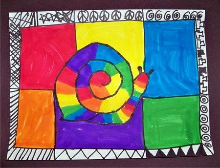 1st grade color wheel rainbow markers snail art lesson project
