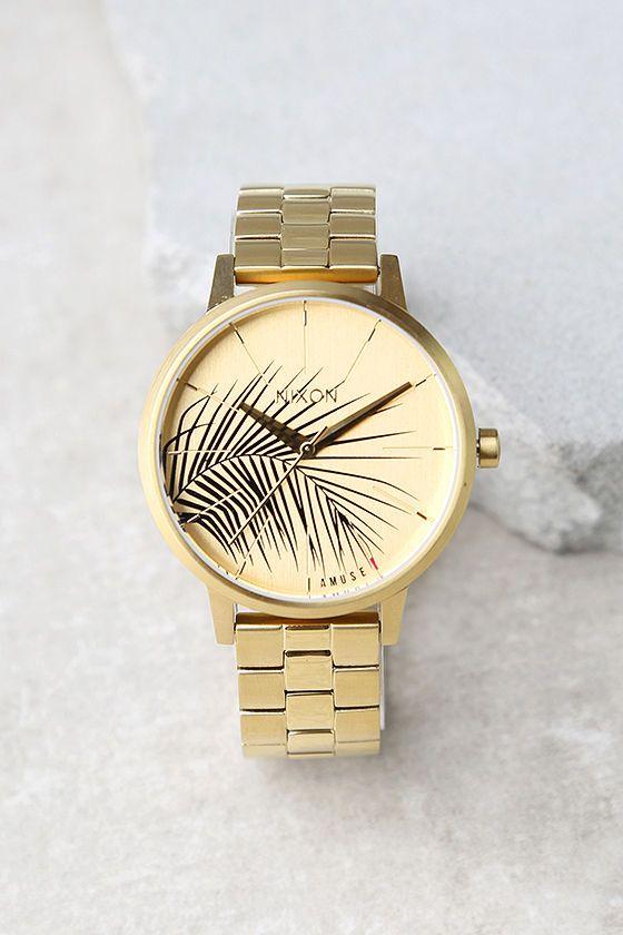 Nixon X Amuse Society Kensington Gold Palm Print Watch
