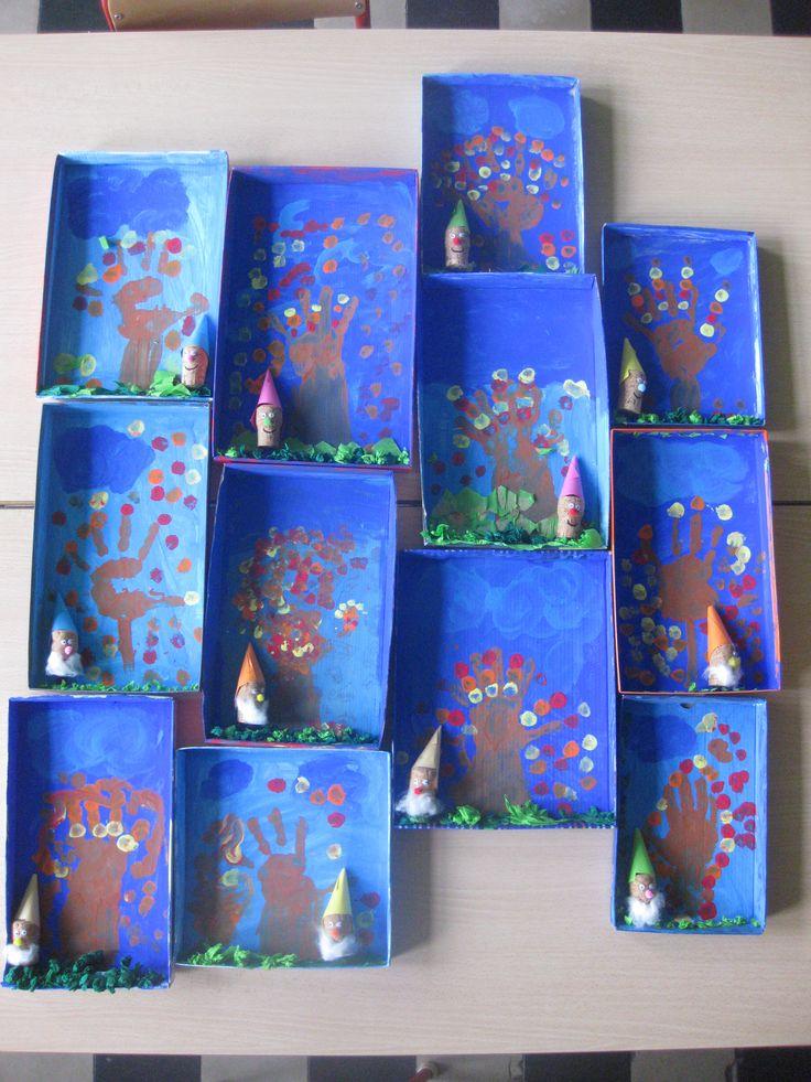 Herfst in een doosje, eigen creativiteit van de kleuters
