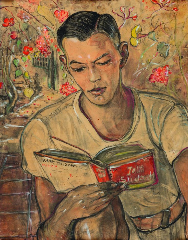 """""""Reading a Book"""", by Adrien Jean Le Mayeur de Merprès (Belgian, 1880-1958)"""