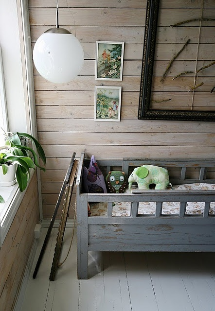 Inspiration for a little girl's / boy's woodland room or baby nursery. Natural wood, greens, plants, vintage style toys & vintage fairy prints framed on the wall.