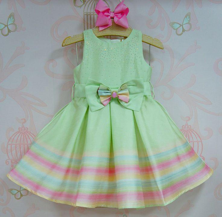 Vestido de Festa Infantil Alice Arco-Íris
