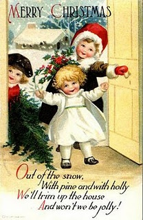 Pine and holly for a very merry Christmas! #vintage #Christmas #cards