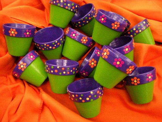 Hand Painted Flower Pot Party Favors for by HappyMooseGardenArt