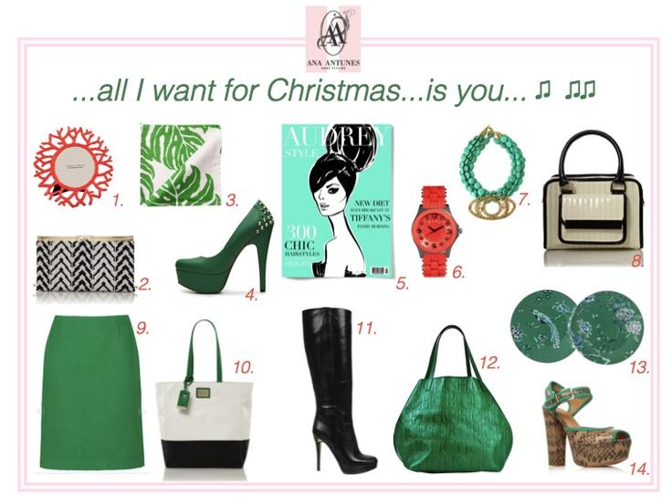 my christmas present list, green, coral, black & white bags, green bag