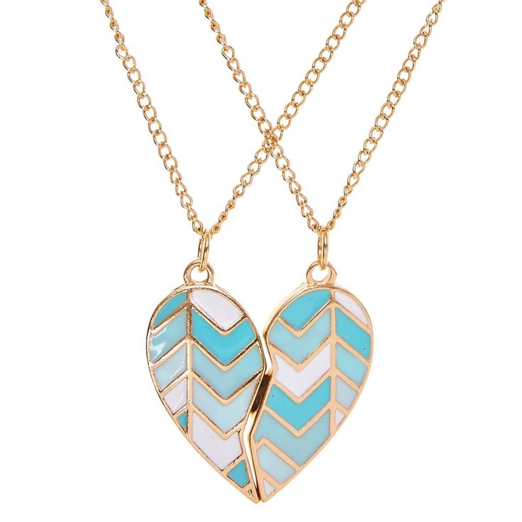 Best Friends Mint Chevron Split Heart Pendant Gold Necklaces | You and your bestie share a special bond. Show off that friendship in matching style with this pair of best friends necklaces. A gold heart pendant is painted with mint and white chevron stripes hangs from a thin gold chain.
