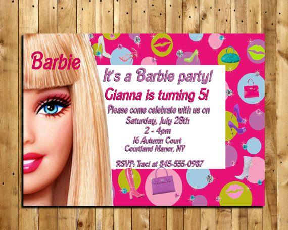 Barbie Custom Made Birthday Invitation 5 X 7 Print Digital