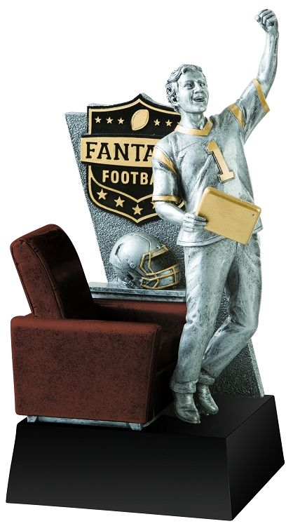 Fantasy Football Champion Trophy | Award http://shrsl.com/?~bto1 Fantasy team owner jumping out of his chair to cheer on his fantasy football team.