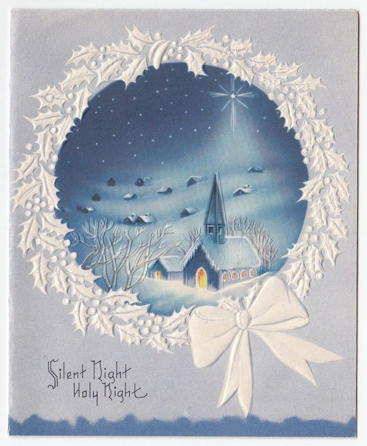 Vintage Greeting Card Christmas Snowy Scene Church Silent Night Holy Night Blue