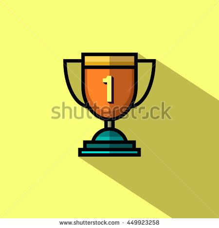 Trophy cup 1st winner flat icon with long shadow. Vector illustration.